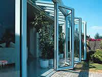 Schiebetur Falttur Faltwand Trennwand Glashaus